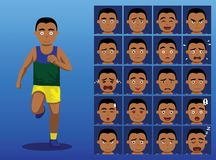 Ejemplo brasileño del vector de Cartoon Emotion Faces del atleta Foto de archivo