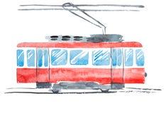 Ejemplo brillante de la acuarela de la tranvía pública tradicional Imágenes de archivo libres de regalías