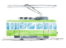Ejemplo brillante de la acuarela de la tranvía pública tradicional Fotografía de archivo libre de regalías