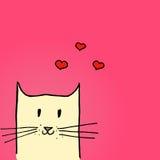 Ejemplo brillante del día de tarjetas del día de San Valentín Gato en amor Ilustración drenada mano del vector Foto de archivo libre de regalías