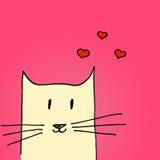 Ejemplo brillante del día de tarjetas del día de San Valentín Gato en amor Ilustración drenada mano del vector Fotografía de archivo libre de regalías