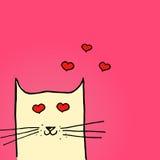 Ejemplo brillante del día de tarjetas del día de San Valentín Gato en amor Ilustración drenada mano del vector Imagen de archivo libre de regalías