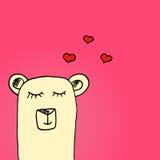 Ejemplo brillante del día de tarjetas del día de San Valentín Oso en amor Ilustración drenada mano del vector Fotografía de archivo