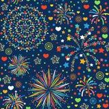 Ejemplo brillante del vector de la textura del modelo de los fuegos artificiales del día de fiesta del extracto del diseño del fo Imagen de archivo