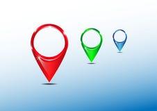 Ejemplo brillante del vector de los indicadores del mapa Imagen de archivo libre de regalías