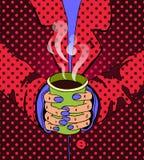 Ejemplo brillante en estilo del arte pop Manos que llevan a cabo una bebida ilustración del vector