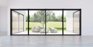 Ejemplo brillante moderno de la representación del apartamento 3D de los interiores foto de archivo libre de regalías