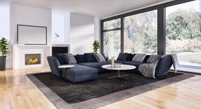 Ejemplo brillante moderno de la representación del apartamento 3D de los interiores fotografía de archivo libre de regalías