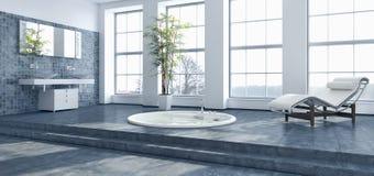 Ejemplo brillante moderno de la representación de los interiores 3D del cuarto de baño imagenes de archivo