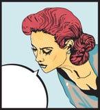 Ejemplo cómico del vector del amor de la mujer retra del arte pop de la cara Imagenes de archivo