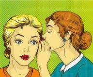 Ejemplo cómico retro del vector del arte pop Chisme o secreto susurrante de la mujer a su amigo Foto de archivo