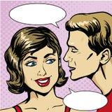 Ejemplo cómico retro del vector del arte pop Chisme o secreto susurrante del hombre a la mujer Burbuja del discurso Imagenes de archivo