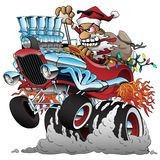 Ejemplo caliente de Rod Santa Christmas Cartoon Car Vector fotos de archivo