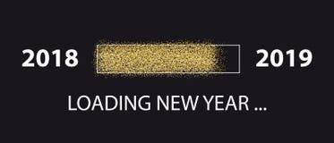 Ejemplo cargado del vector del Año Nuevo 2018 a 2019 - barra de progreso del brillo - - aislado en fondo negro ilustración del vector