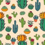 Ejemplo casero del vector de la naturaleza del cactus del árbol cactiforme de la planta verde con el fondo inconsútil del modelo  Foto de archivo