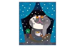 Ejemplo Cat Funny Cartoon del vector ilustración del vector