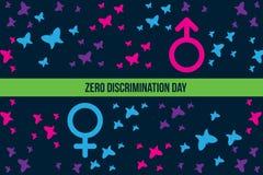 Ejemplo cero del día de la discriminación con la mariposa y muestra del género con ambos lado stock de ilustración