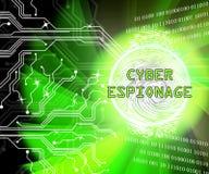 Ejemplo cibernético criminal del ataque 3d del espionaje cibernético stock de ilustración