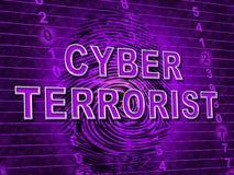 Ejemplo cibernético de Extremism Hacking Alert 3d del terrorista stock de ilustración