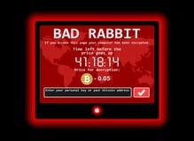 Ejemplo cibernético de la pantalla del ataque del mún del conejo del ransomware de ordenador encrypter del virus ilustración del vector