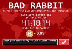 Ejemplo cibernético de la pantalla del ataque del mún del conejo del ransomware de ordenador encrypter del virus stock de ilustración