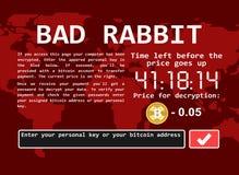 Ejemplo cibernético de la pantalla del ataque del mún del conejo del ransomware de ordenador encrypter del virus libre illustration