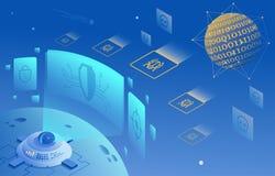 Ejemplo cibernético de la protección de la seguridad y de la información o de la red ilustración del vector