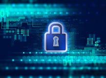 Ejemplo cibernético del concepto de sistema de seguridad de Digitaces 3d Imagen de archivo libre de regalías