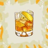 Ejemplo clásico contemporáneo del cóctel de la madrina Vector exhausto de la barra de la mano alcohólica de la bebida Arte pop ilustración del vector
