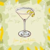 Ejemplo clásico contemporáneo del cóctel de Martini de la gota de limón Vector exhausto de la barra de la mano alcohólica de la b ilustración del vector