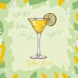 Ejemplo clásico contemporáneo del cóctel del pájaro amarillo Vector exhausto de la barra de la mano alcohólica de la bebida Arte  ilustración del vector