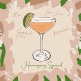 Ejemplo clásico contemporáneo especial del cóctel de Hemingway Vector exhausto de la barra de la mano alcohólica de la bebida Art ilustración del vector