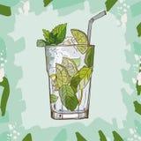 Ejemplo clásico contemporáneo fresco del cóctel de Mojito Vector exhausto de la barra de la mano alcohólica de la bebida Arte pop libre illustration