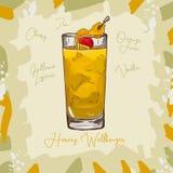 Ejemplo clásico del cóctel de Harvey Wallbanger Contemporary Vector exhausto de la barra de la mano alcohólica de la bebida Arte  stock de ilustración