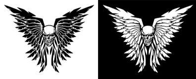 Ejemplo clásico del vector del cráneo y de las alas en ambas versiones blancos y negros stock de ilustración