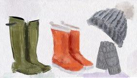 Ejemplo Clipart de guantes, de Gumboots y de los complementos hechos punto de la acuarela del sombrero libre illustration