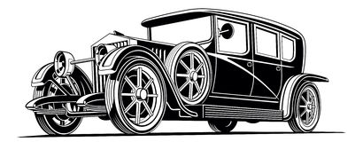 ejemplo clásico negro del vector de la limusina del coche del vintage Foto de archivo libre de regalías