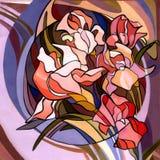 Ejemplo coloreado de flores en el estilo de Art Nouveau, moderno Fotografía de archivo