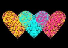 Ejemplo coloreado de tres corazones Fotos de archivo libres de regalías