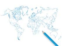 Ejemplo coloreado del mapa del mundo del lápiz en un fondo blanco Imágenes de archivo libres de regalías