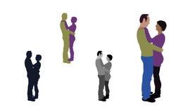 Ejemplo coloreado del plano realista de un par de abrazo Imagenes de archivo