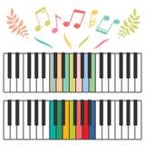 Ejemplo coloreado del vector de las llaves y de las notas del piano Imagen de archivo