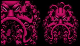 Ejemplo coloreado del vector de un pulpo stock de ilustración