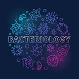 Ejemplo coloreado ronda del vector de la bacteriología en la línea estilo ilustración del vector