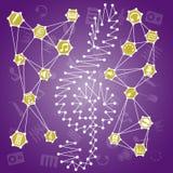 Ejemplo colorido abstracto con los iconos de la música Ilustración del Vector