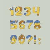 Ejemplo colorido con la fuente infantil del monstruo de los números, aislada en fondo Dé la secuencia exhausta del dígito a parti Foto de archivo libre de regalías