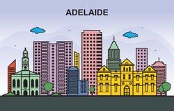 Ejemplo colorido de Adelaide City Tour Cityscape Skyline ilustración del vector