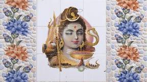 Ejemplo colorido de la diosa hindú en la pared en Pushkar, la India Foto de archivo
