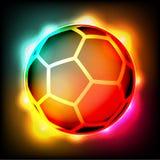 Ejemplo colorido de las luces del fútbol del balón de fútbol Fotografía de archivo