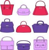 Ejemplo colorido de los bolsos en el fondo blanco Imagen de archivo libre de regalías